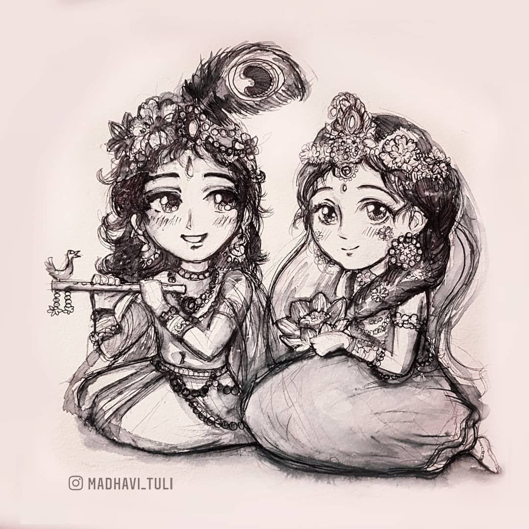 Image May Contain Drawing Krishna Art Radha Krishna Art Krishna Painting