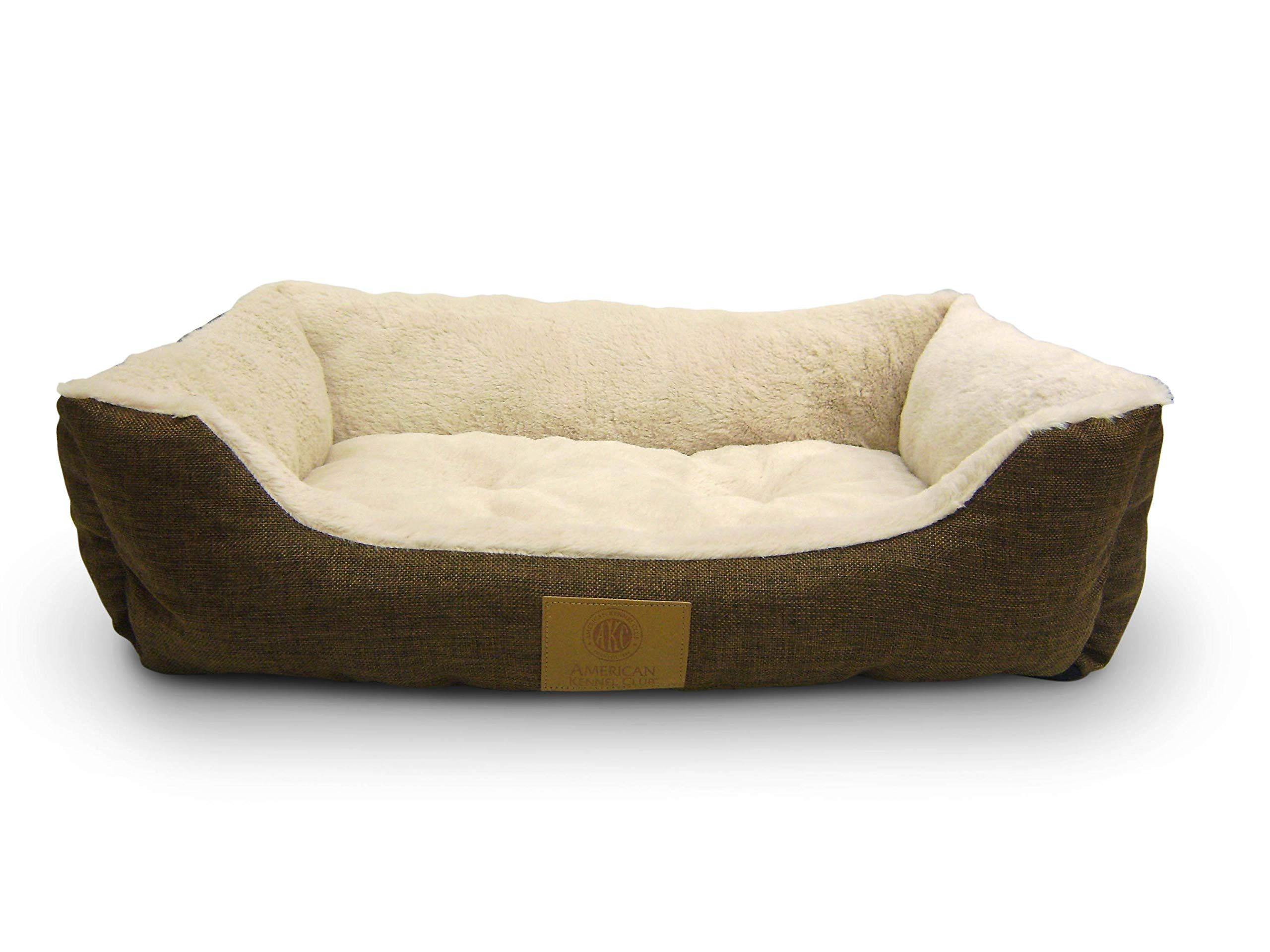 American Kennel Club Akc6466brown Burlap Cuddler Pet Bed Check