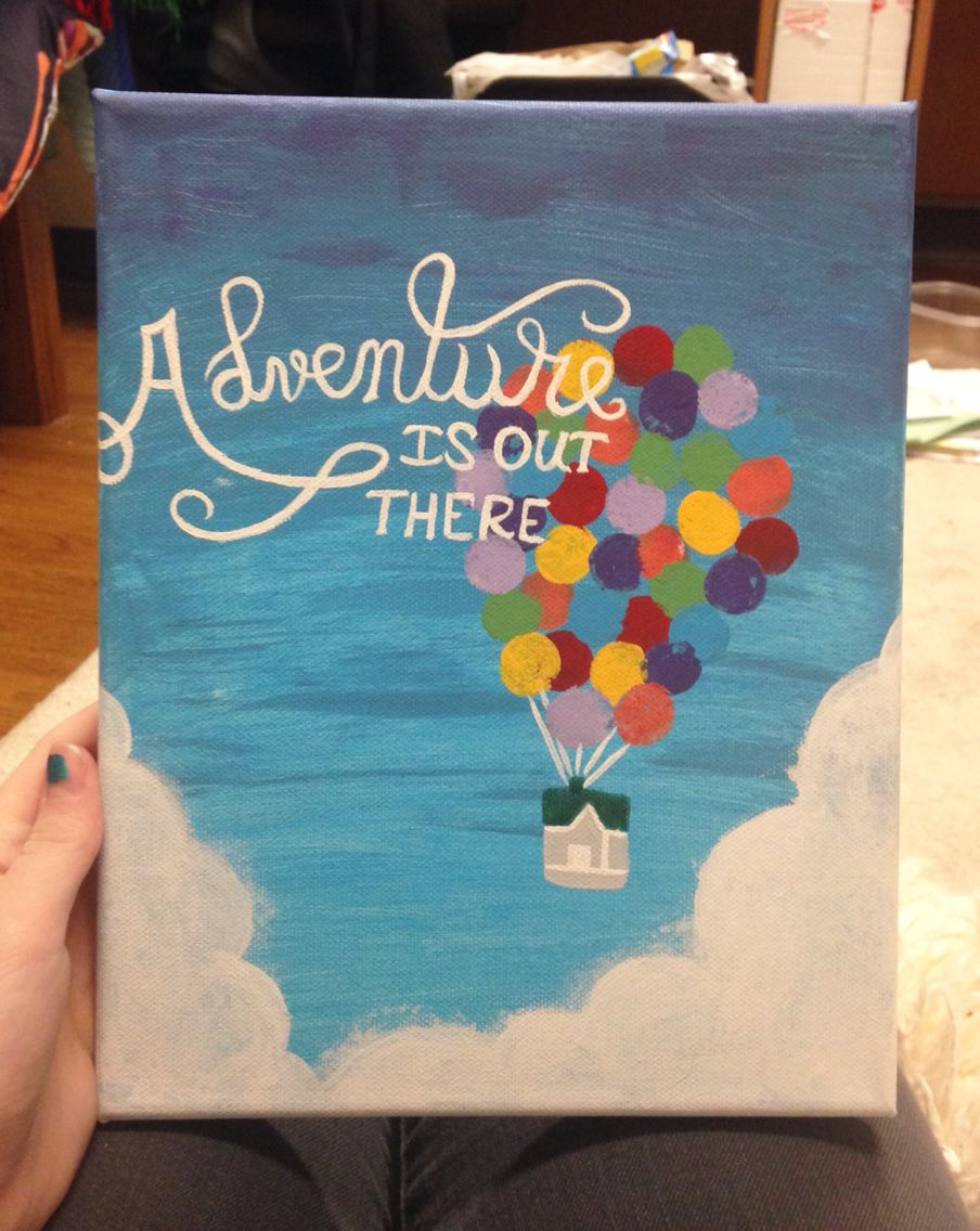 Adventure Is Out There Up Movie Inspired Canvas Painting Disney Canvas Art Diy Art Painting Canvas Painting Quotes