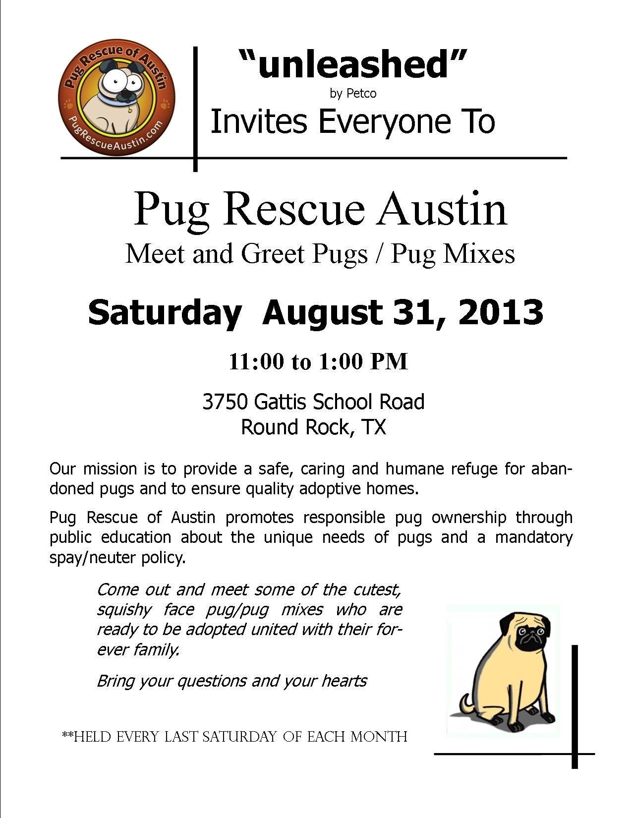 August 31st Event Pug Rescue Pug Mix Austin Events