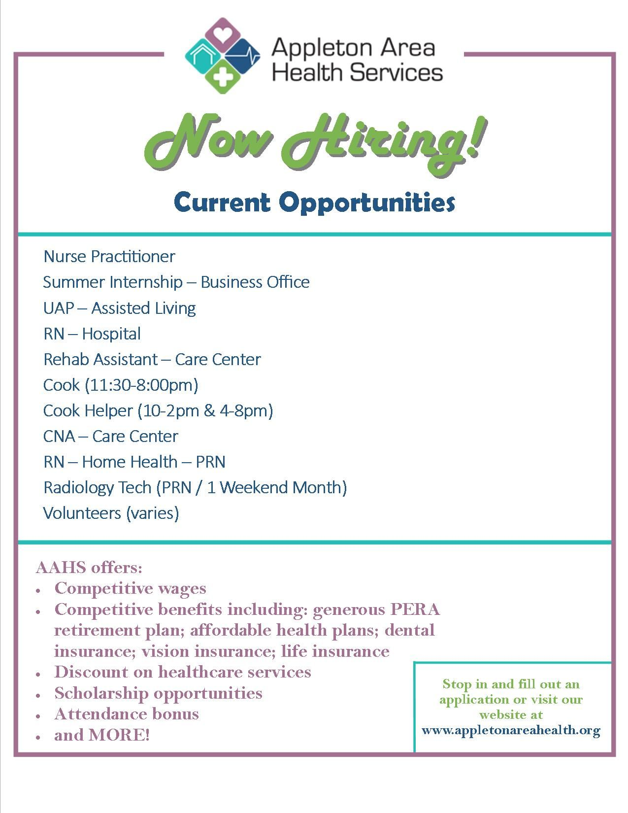 Now Hiring Current Job Opportunities At Appleton Area Health Services Aahs In Minnesota Current Job Appleton Health Services