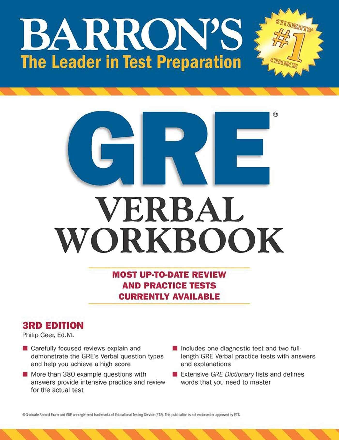 PDF DOWNLOAD Barron's GRE Verbal Workbook by Philip Geer