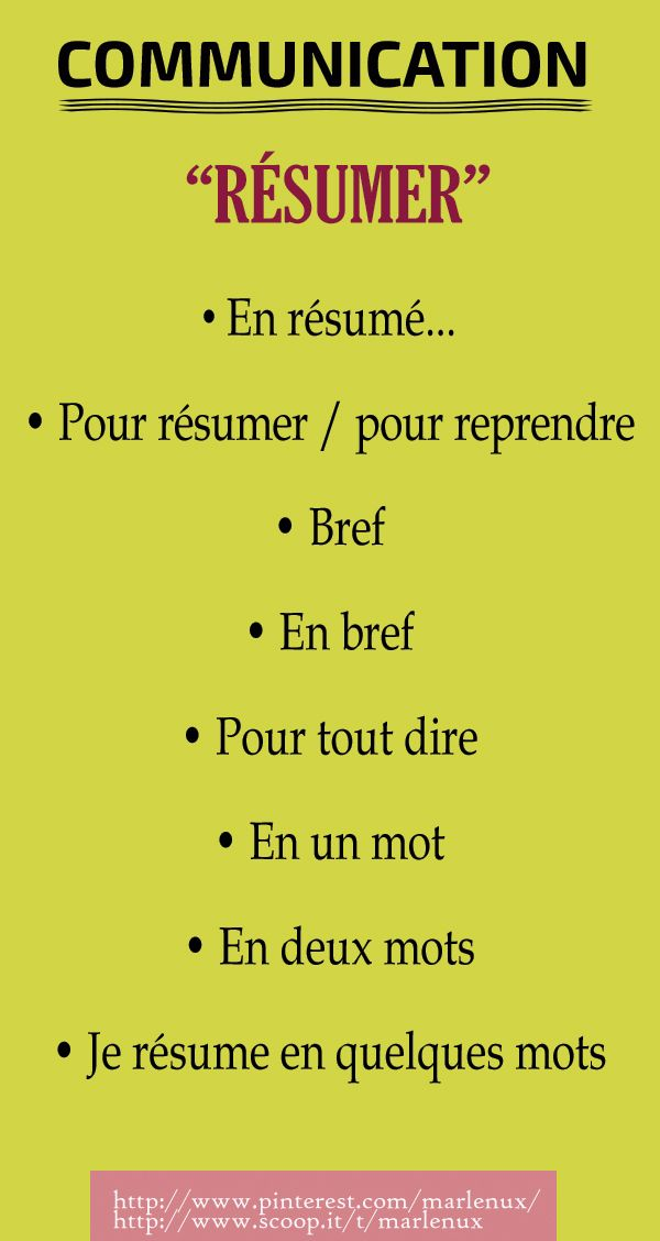 French Vocabulary Communication Résumer French Expressions