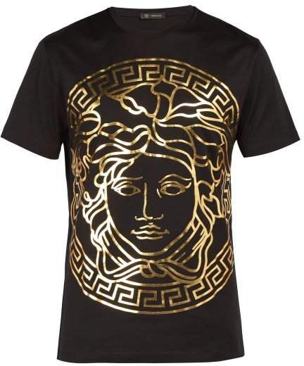 ae333298 Versace Medusa Gold Print T Shirt - Mens - Black Gold | Products in ...
