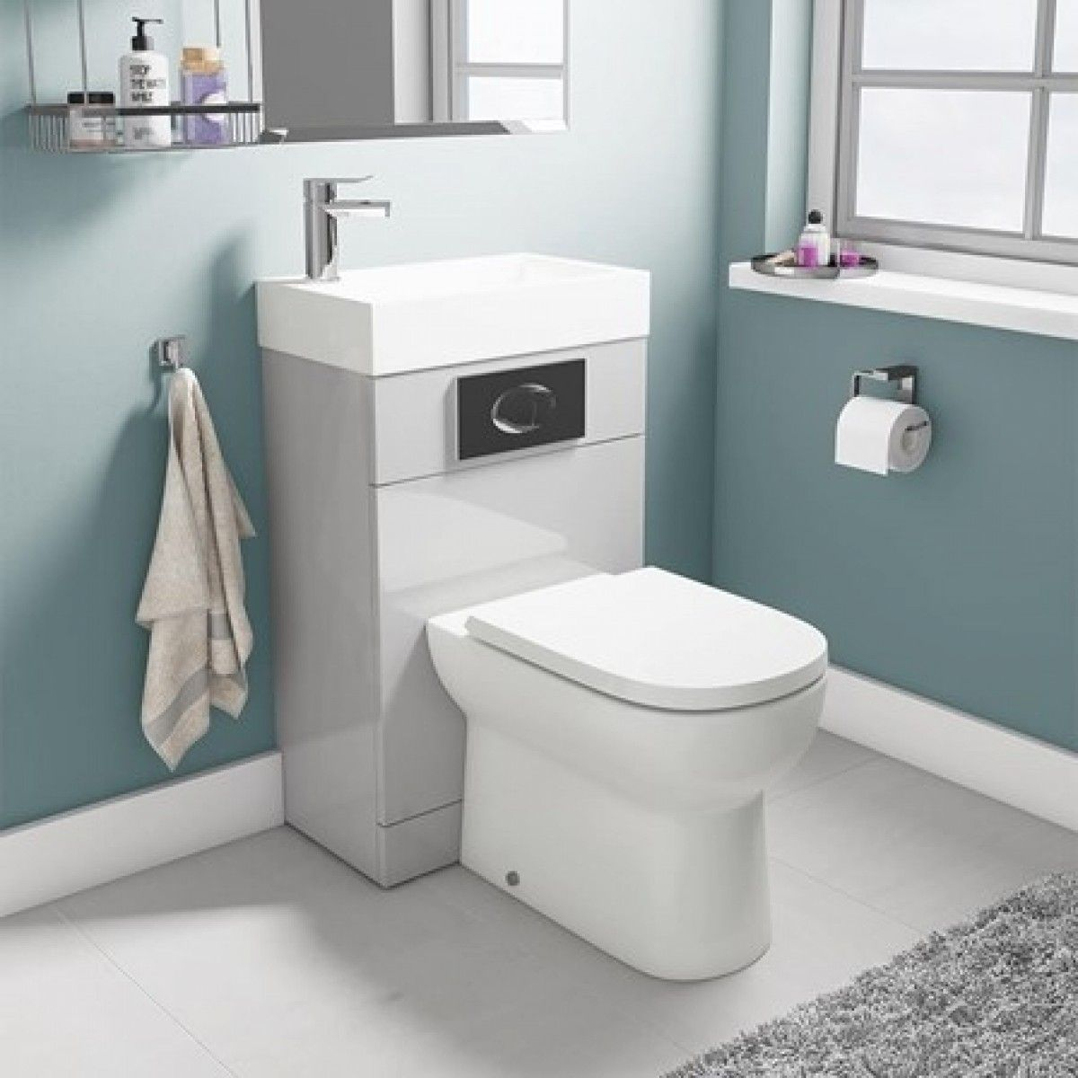 Vellamo Structure All In One Gloss Grey Basin Toilet Unit With D Shaped Pan Seat 500mm