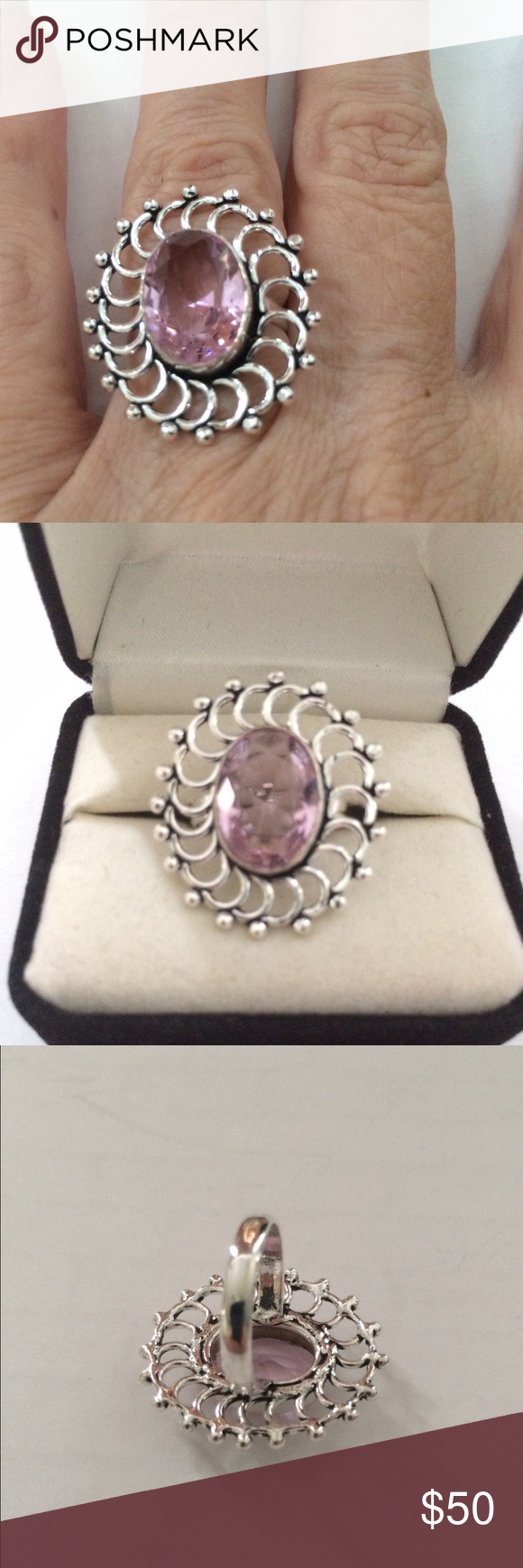 🎀STERLING SILVER 🎀 HANDMADE 🎀 PINK TOPAZ RING Pretty Pink Topaz Ring size 6 in a Handmade Sterling Silver Setting Handmade Jewelry Rings
