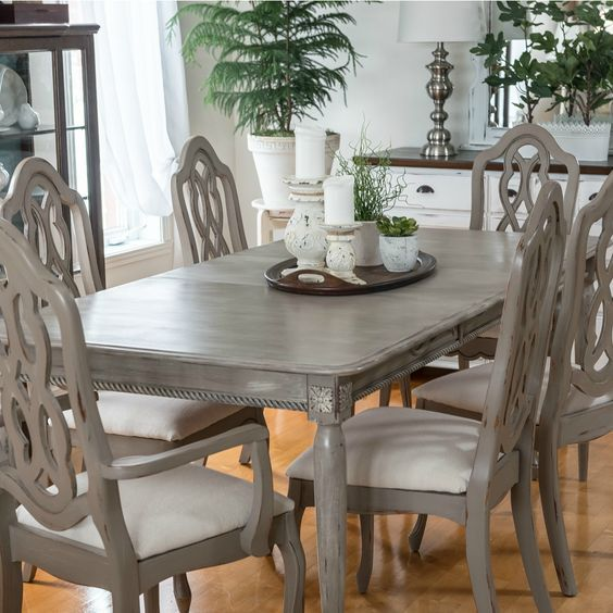 dining table makeover with paint and moulding -orphans with