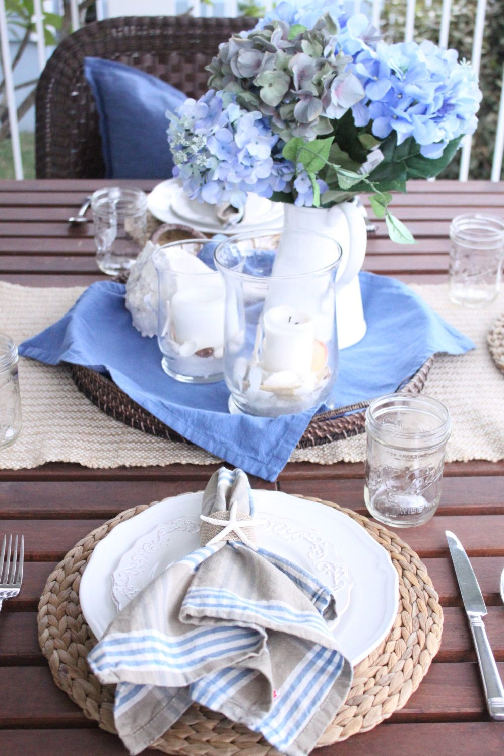 Blue and White Outdoor Table - Starfish Cottage
