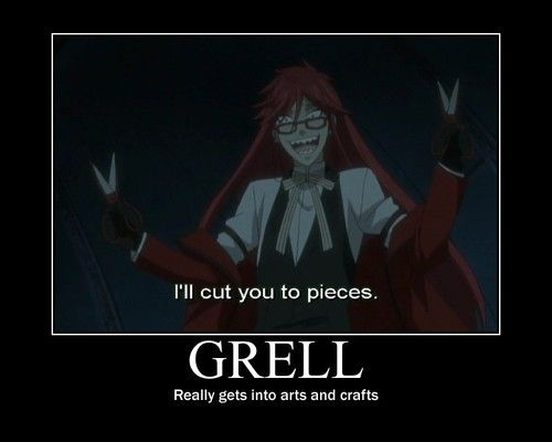 I laughed at this a lot more than I should have.  Poor Grell lost his chainsaw. Btw, I think Grell & Stein should work together, don't you?