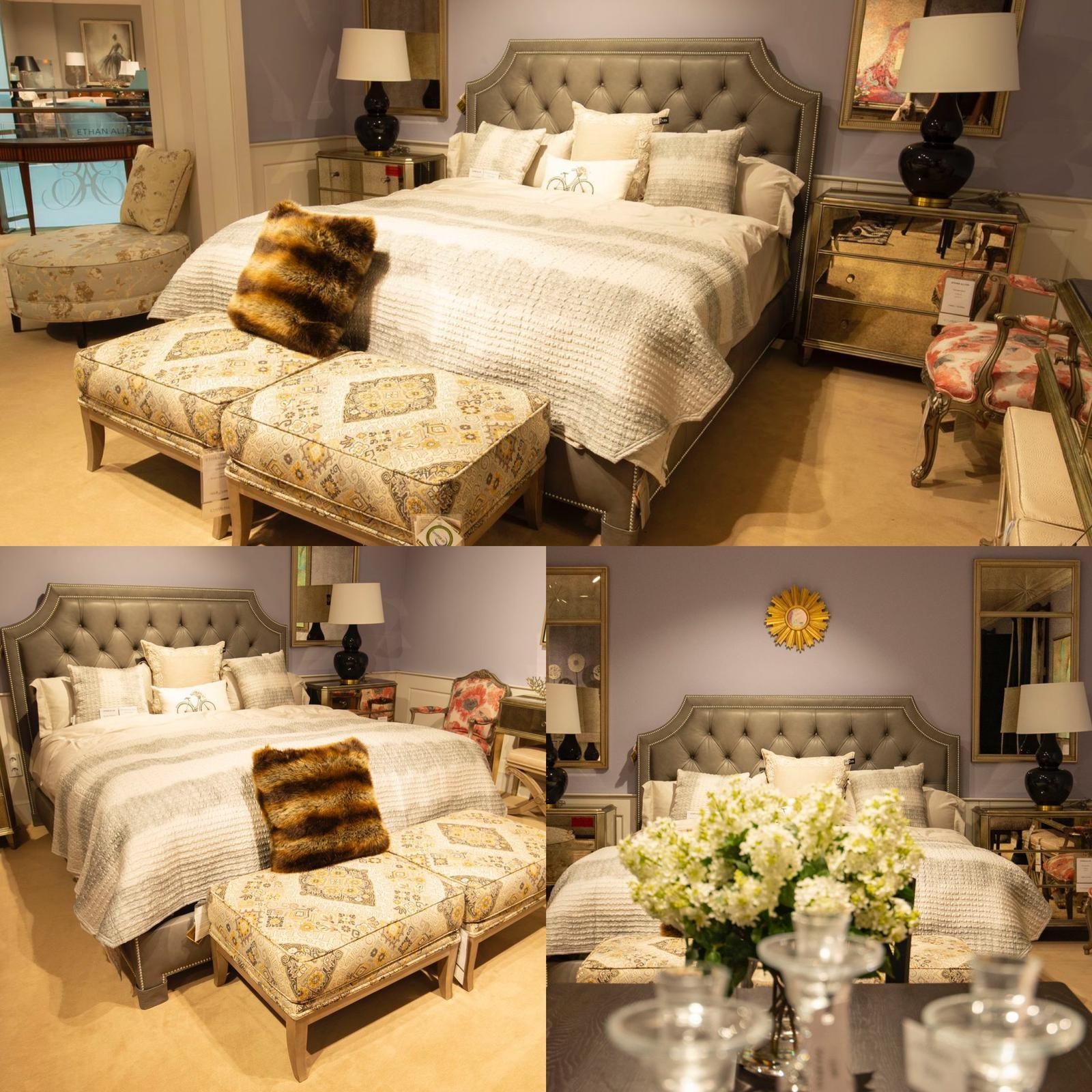 Patul Alison este un best-seller marca Ethan Allen, tapitat cu piele. Butonii ce personalizeaza tablia adauga farmec si eleganta!  #selectdesignro #ethanallen #ethanallenromania #bedroom #leatherbed #bedroominspo #bedroomdecor #bedroomstyle