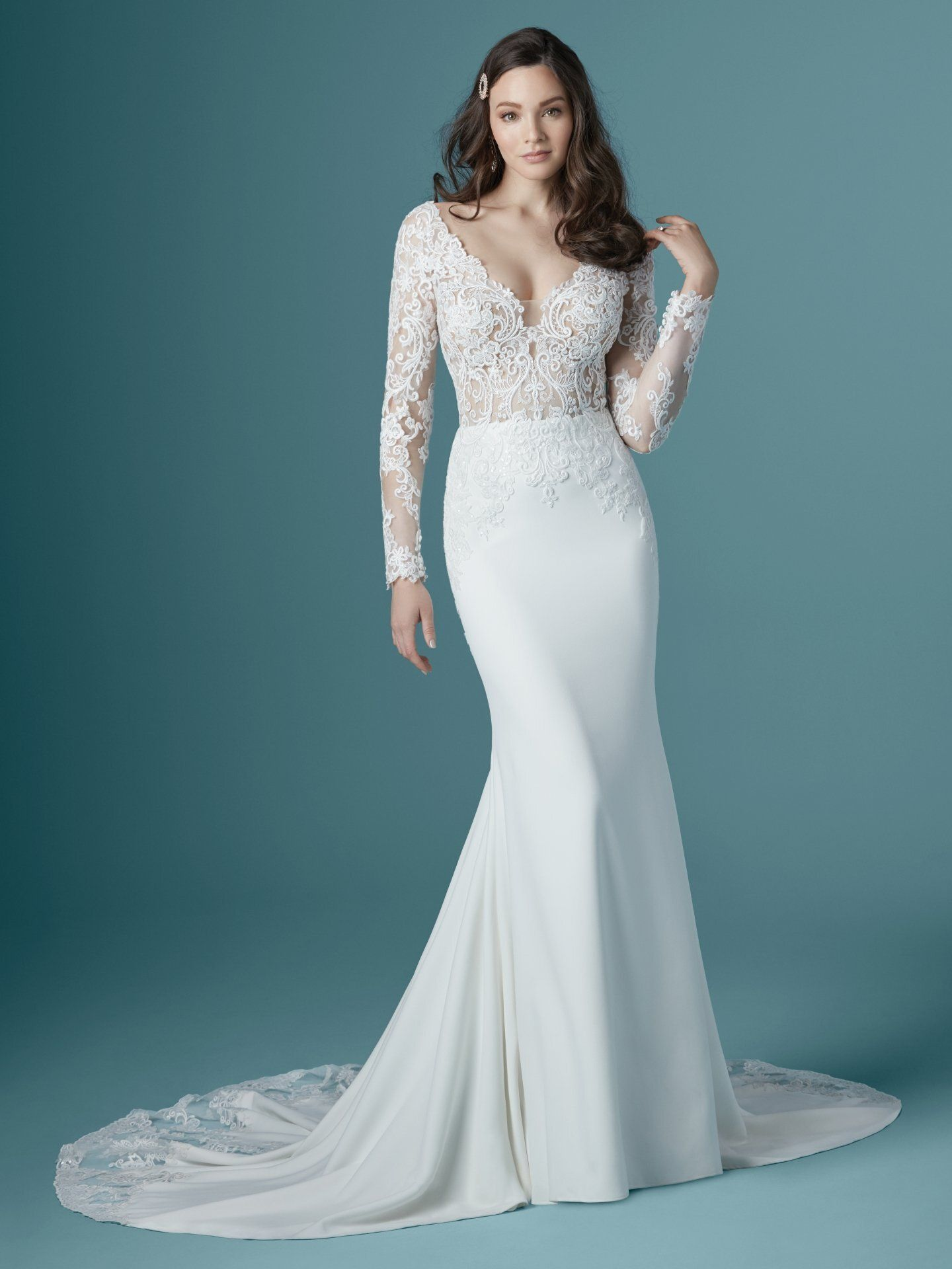 Maggie Sottero Althea crepe wedding dress with lace sleeves ...