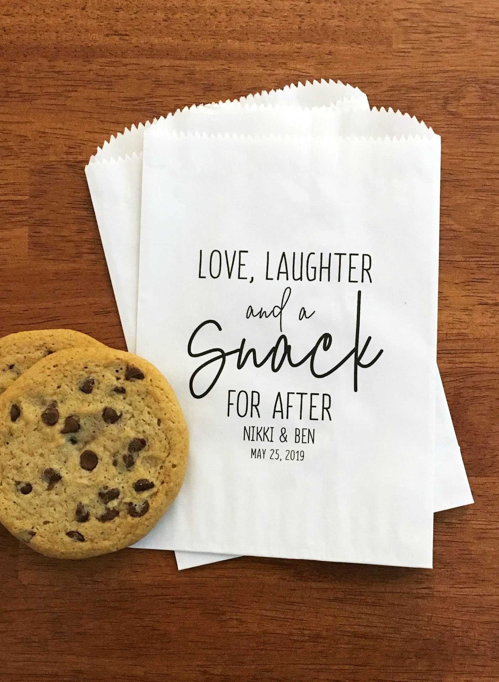 White Grease Resistant Baked Goods Bags 20 per pack Wedding favor bags Cookie gift Love and Cookies design