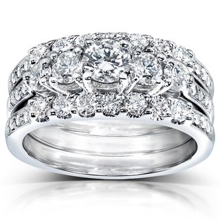 Annello 14k White Gold 1 3ct TDW Diamond 3 Piece Bridal Ring Set