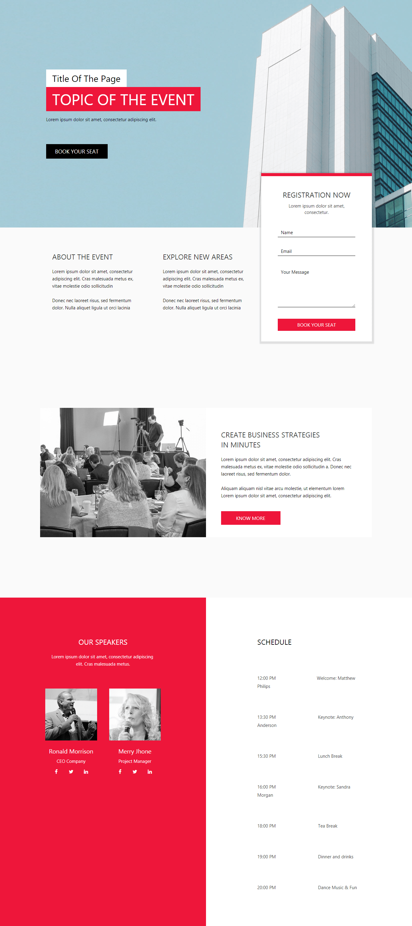 Professional Event Landing Page Landing Pages