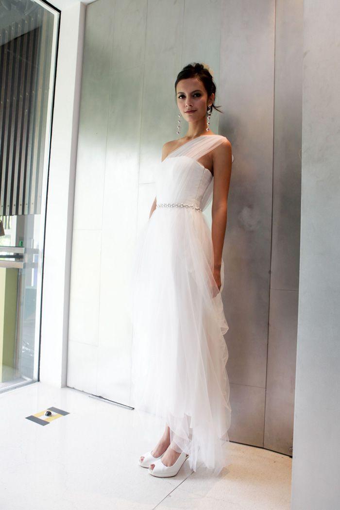 Pandora - Tulle tea-length toga dress with gemstone detail on waist ...