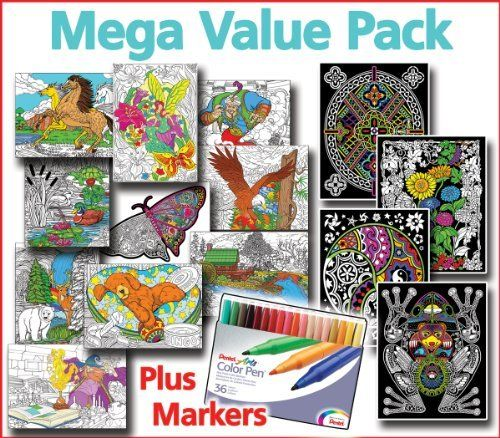 Mega Coloring Poster Value Pack - Line Art, Fuzzy Posters, & Pens by ...