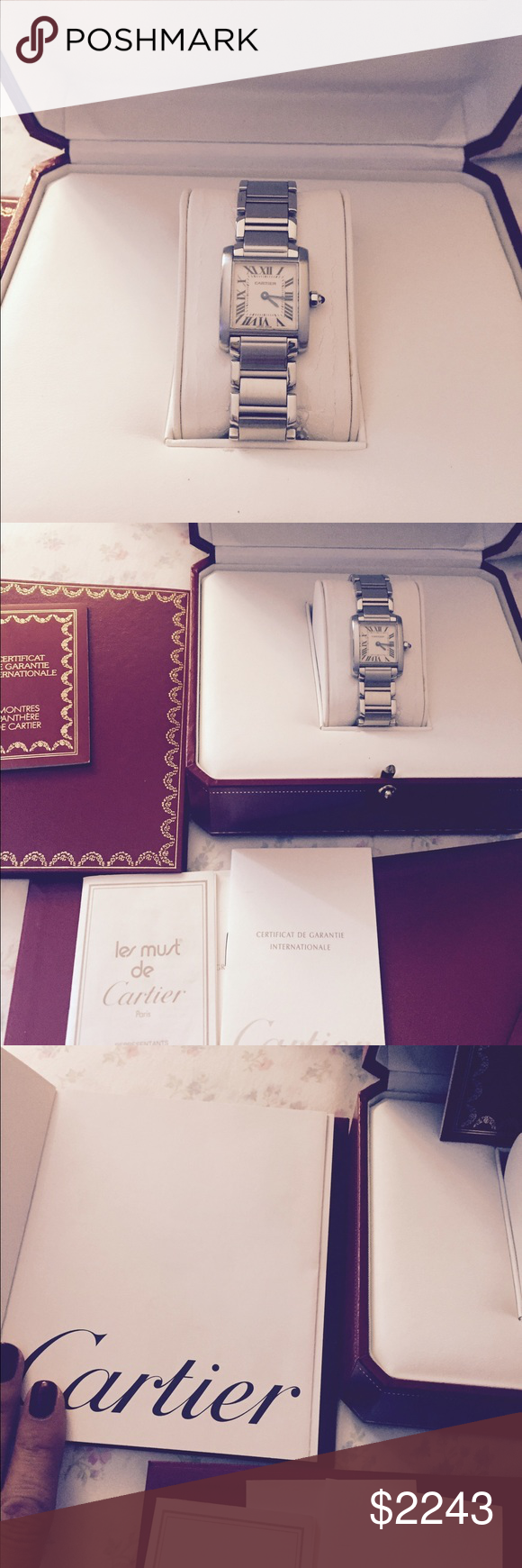 Tank de Cartier Like new with papers small size and Cartier red box ALL transactions are recorded before to ship signature required to delivered. Cartier Jewelry