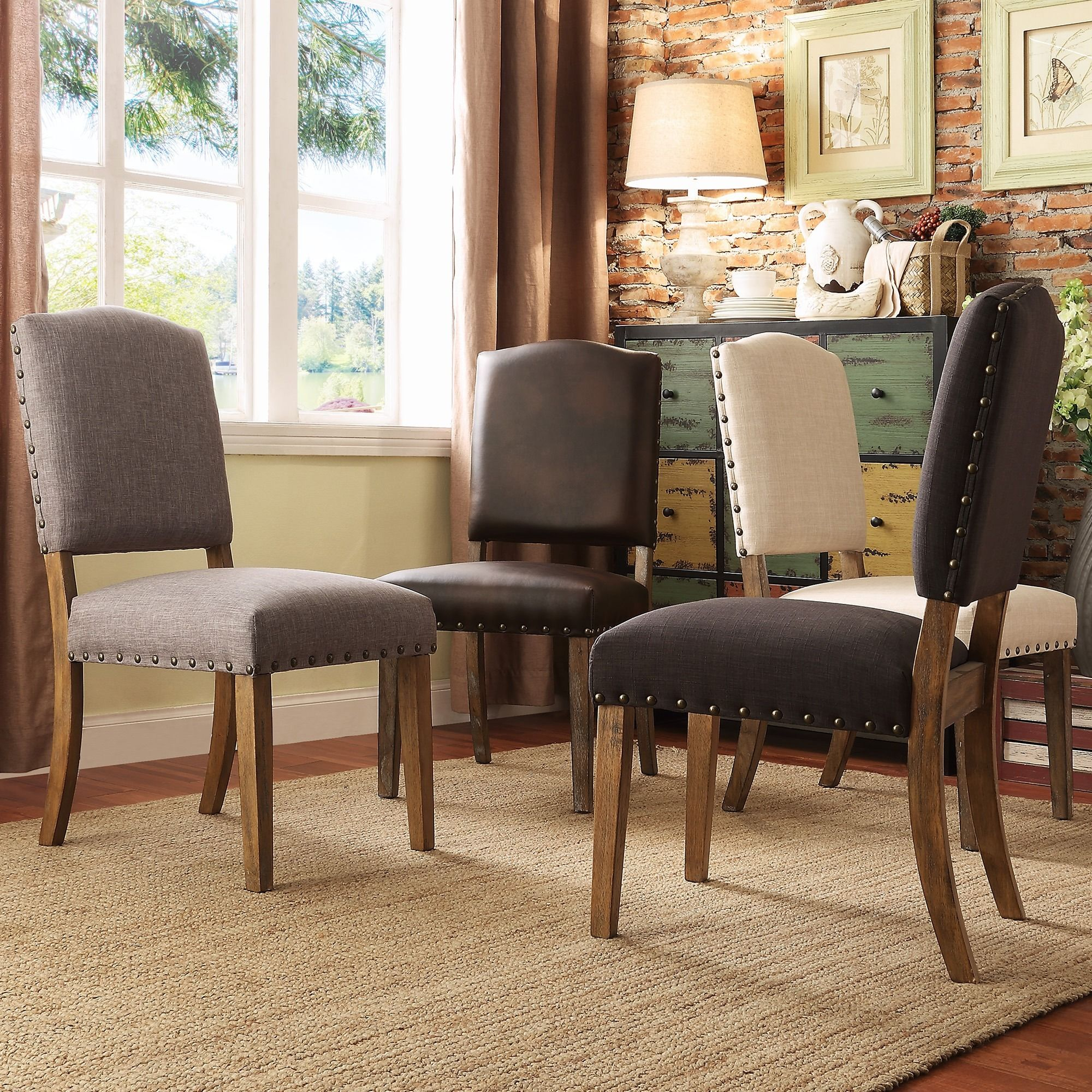 Overstock Living Room Chairs Benchwright Nailhead Upholstered Dining Chairs By Signal Hills