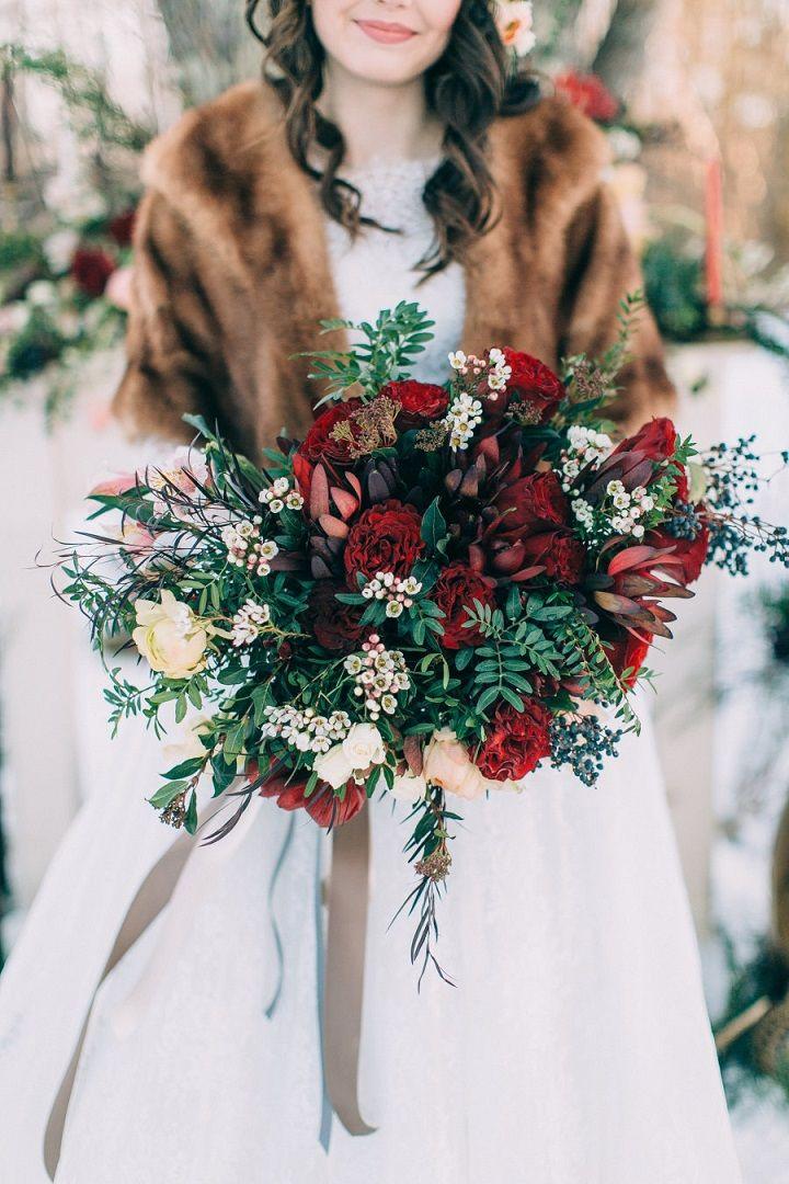 Maroon winter wedding bouquet