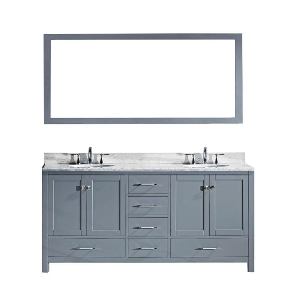 Virtu Usa Caroline Avenue 60 8 In Double Vanity In Grey With Marble Vanity Top And Mirror In It Marble Vanity Tops Double Vanity Bathroom Bathroom Vanity Tops