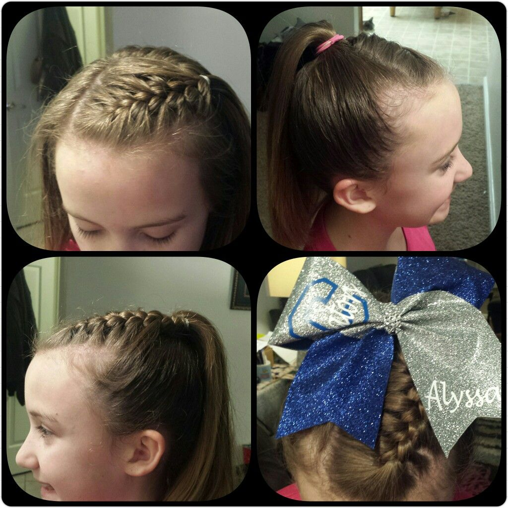 cheer updo - small front to side french braid to high
