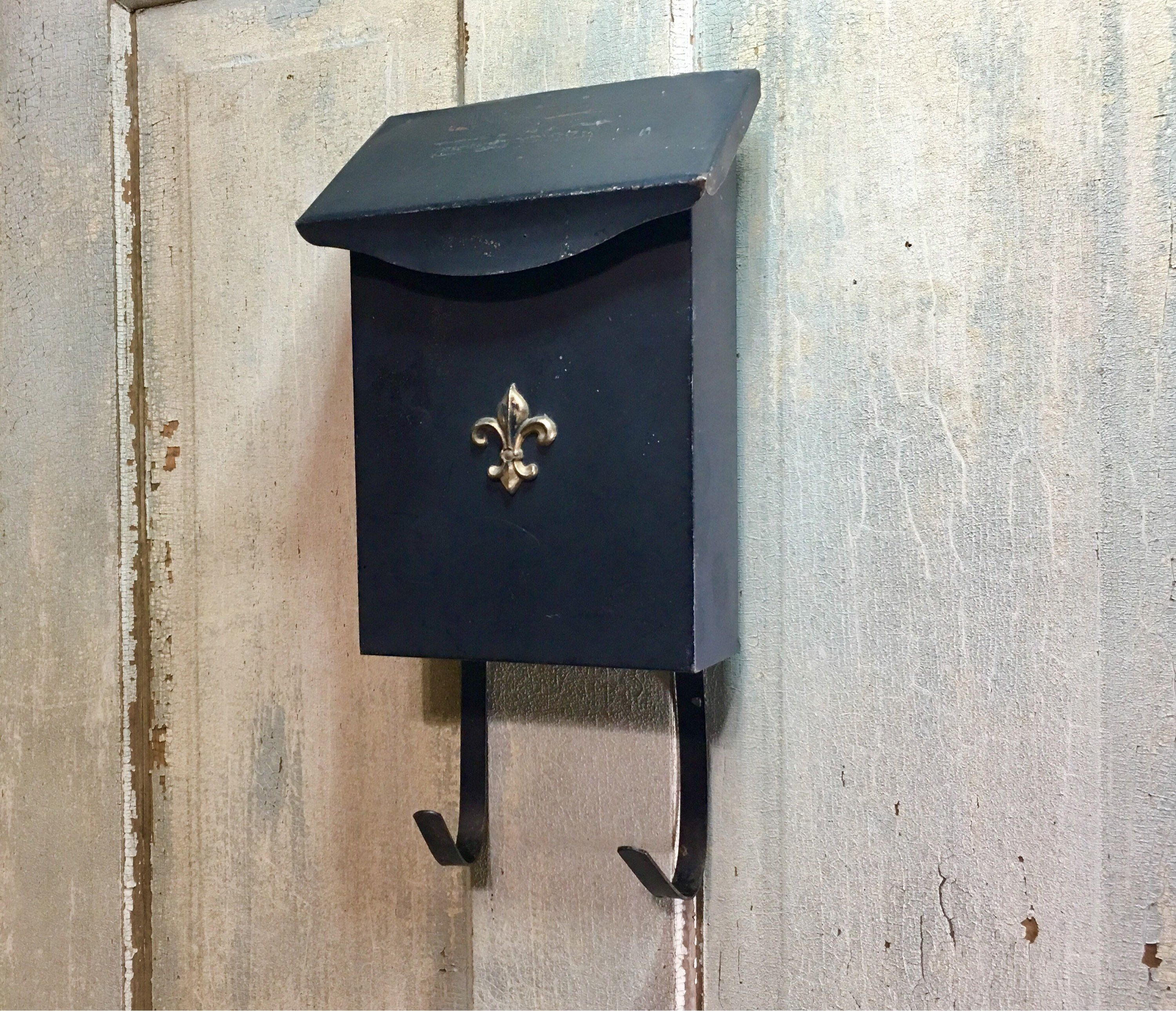 Vintage Rustic Black Metal Wall Mount Old Cottage Style Mailbox Newspaper Holder Apartment Letter Holder Repurposed Upcy Rustic Black Old Cottage Cottage Style