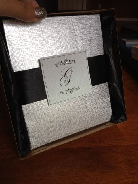 Boxed Wedding Invitation Shimmering Black & by EmilysEnchantments