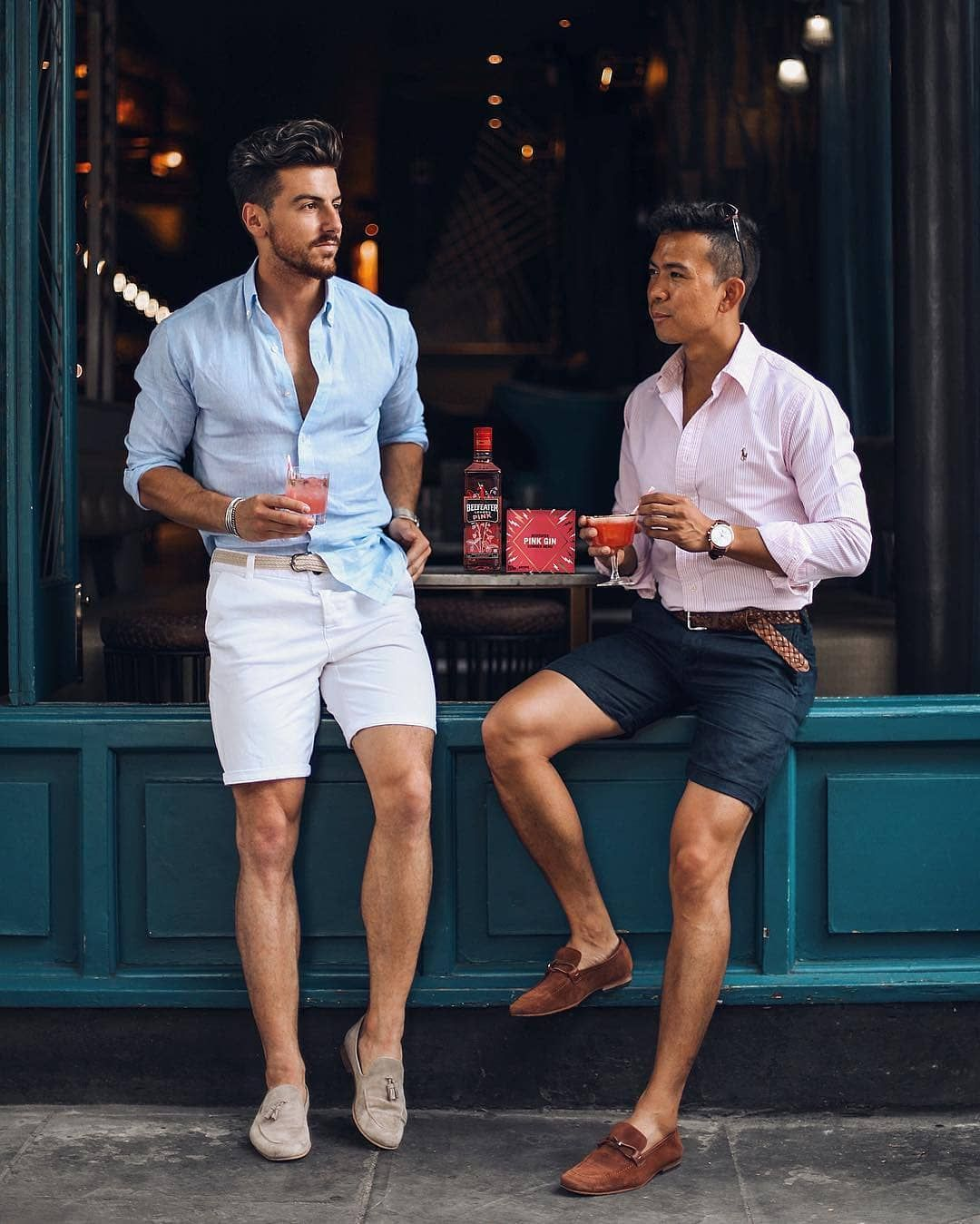 shorts sand suede tassel loafers blue