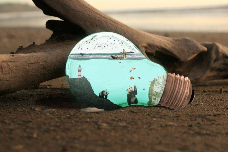 Light Bulbs Panda, Dead Wood Ship Birds Lighthouse The Sea, Art wallpapers