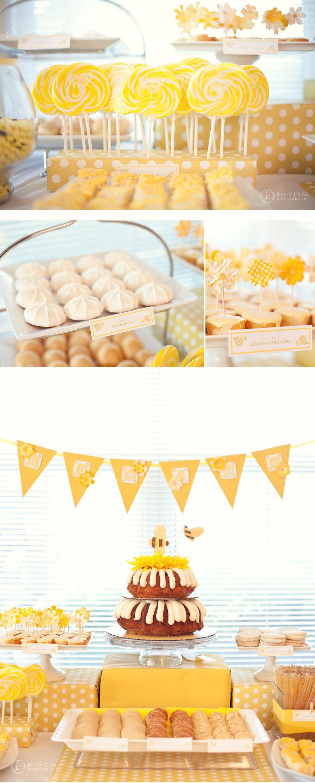 honey bee dessert table: yellow + white foods, yellow scrapbooking ...