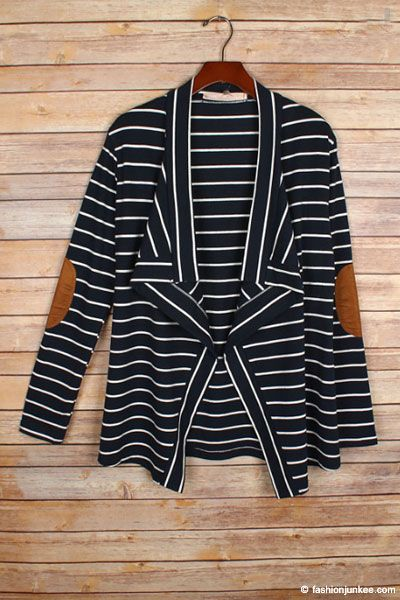 d645b0ca5 PLUS SIZE Draped Striped Open Cardigan with Suede Elbow Patch-Navy ...