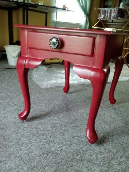 Chalk Painted End Table Valspar Pomegranate Red Plaster Of Paris Homemade Paint