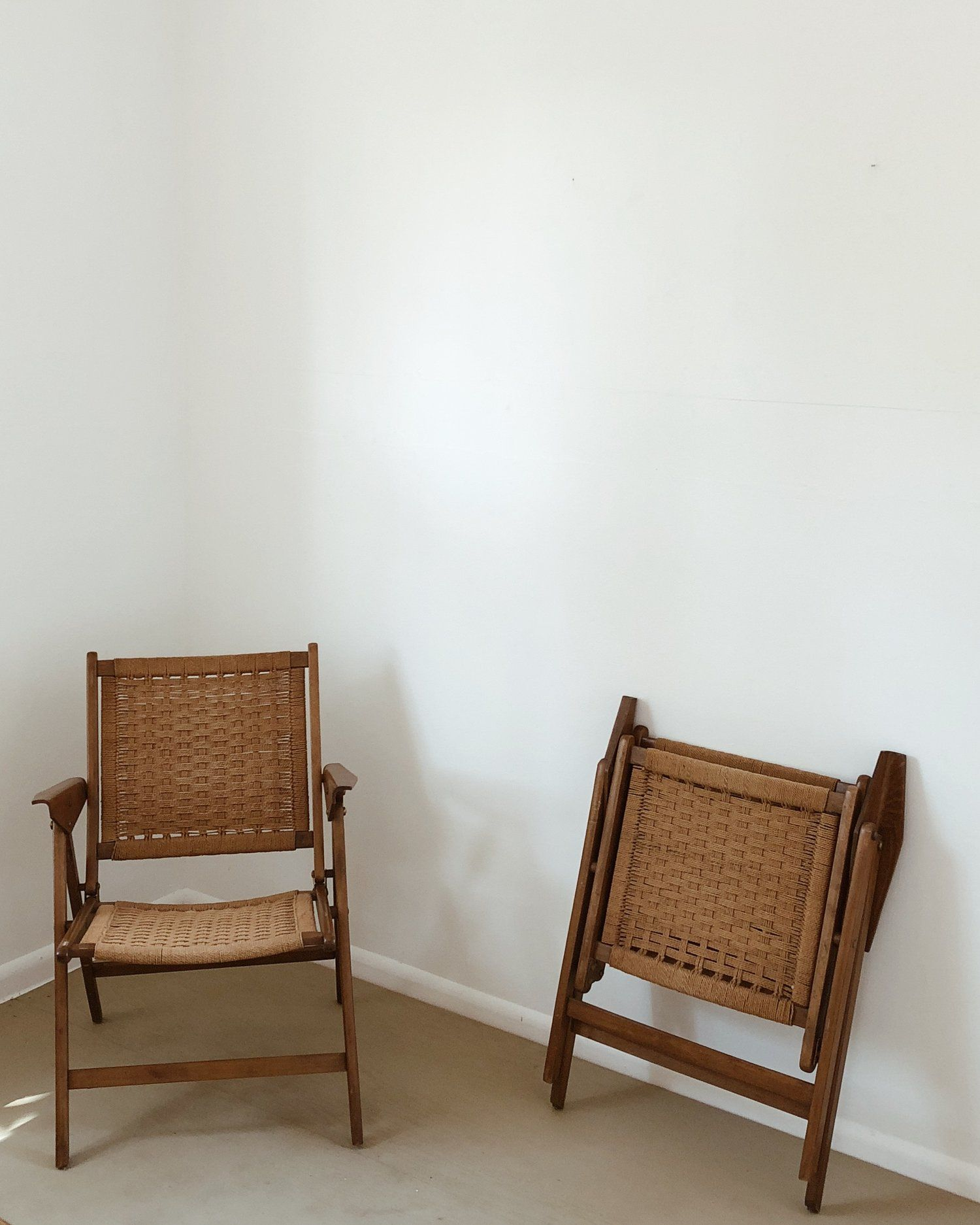 Vintage Woven Folding Chair Living Room Ping List