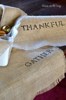 how to make a burlap stenciled table runner, crafts, seasonal holiday d cor, thanksgiving decorations, These burlap stenciled table runners are easy and make a great base for your table decor