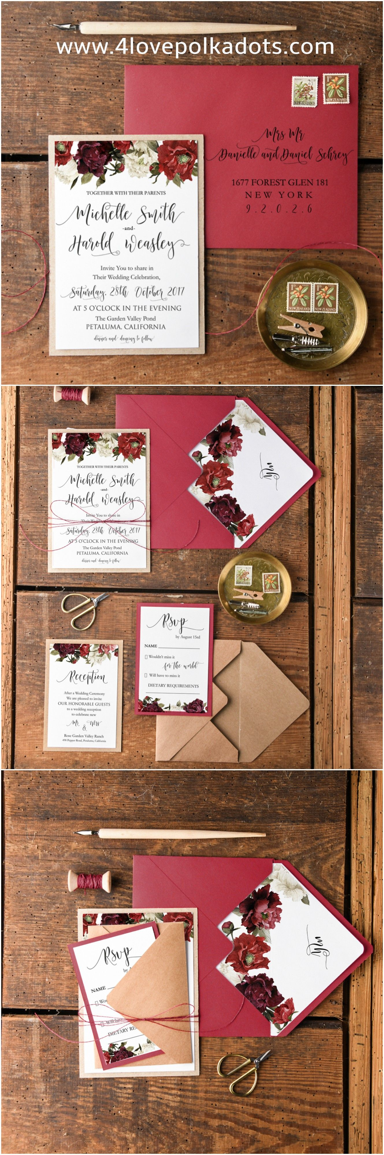 Burgundy Deep Red Wedding Invitation Set From 4lovepolkadots