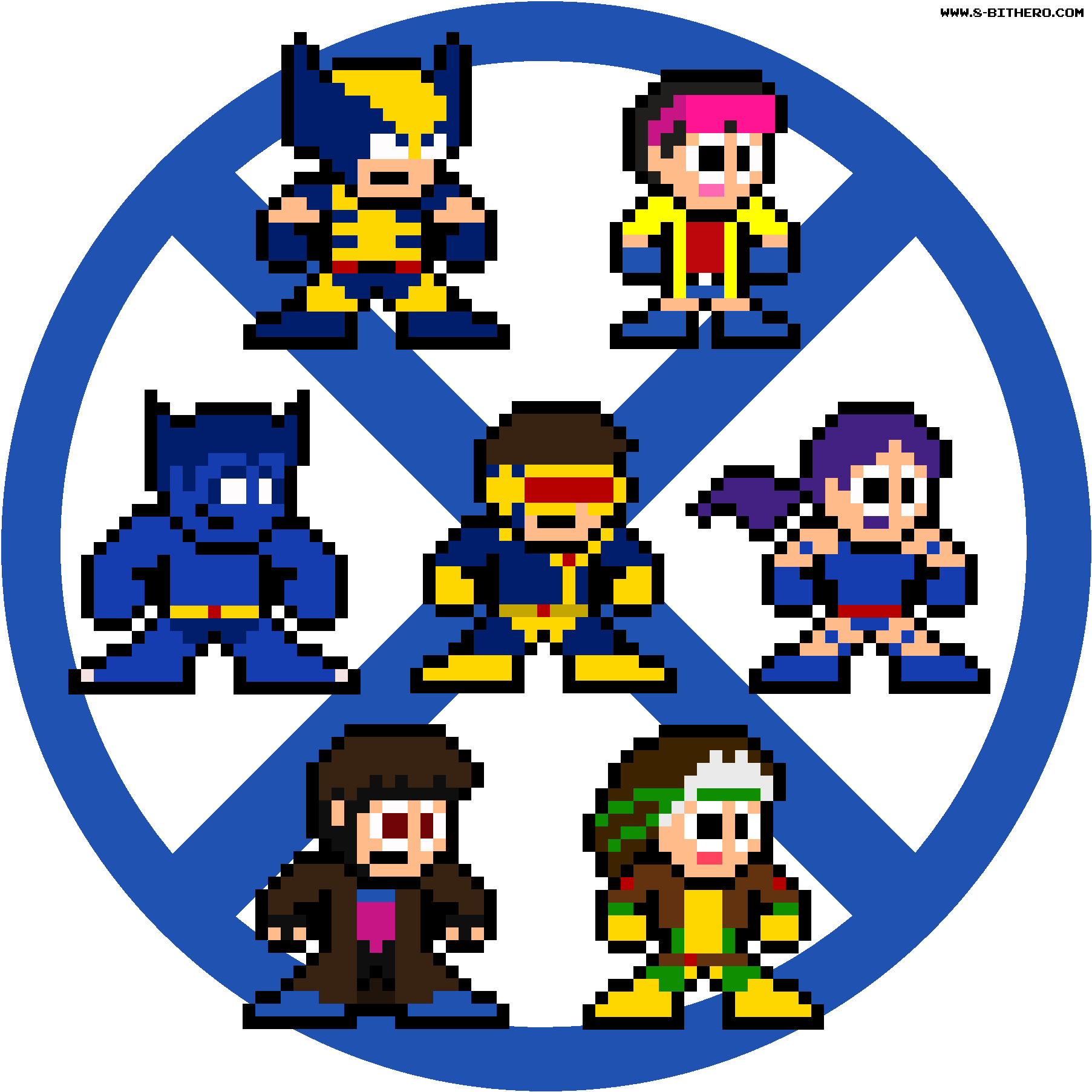 8 Bit X Men Blue Team Marvel Pixel Sprites