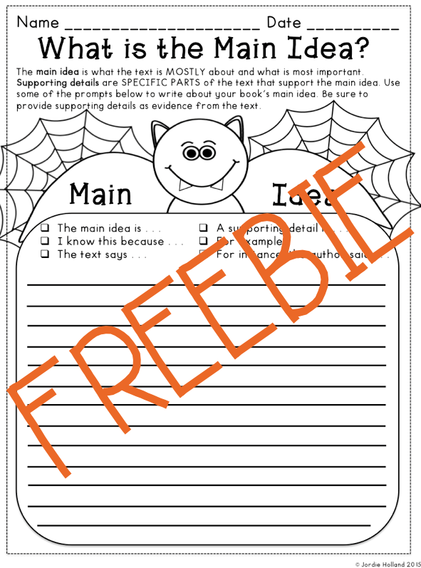 Free Halloween Reading Graphic Organizers for Main Idea, Cause and ...