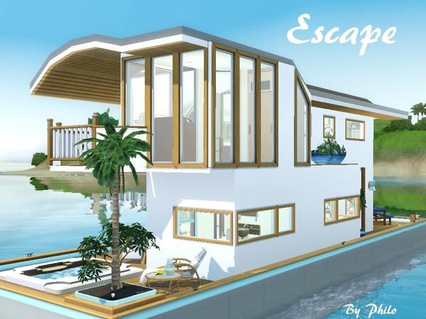 Escape houseboat the sims 3 island paradise download for Beach house plans sims 3