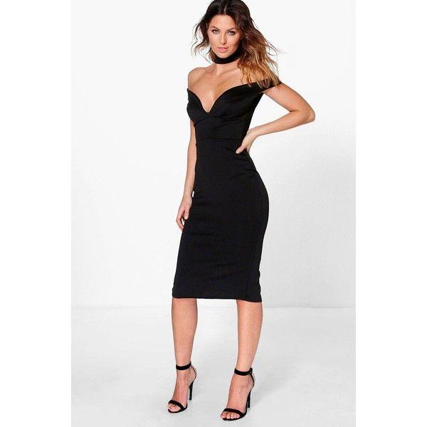 fe439f13f00d Boohoo Night Ara Sweetheart Off The Shoulder Midi Dress ( 35) ❤ liked on  Polyvore
