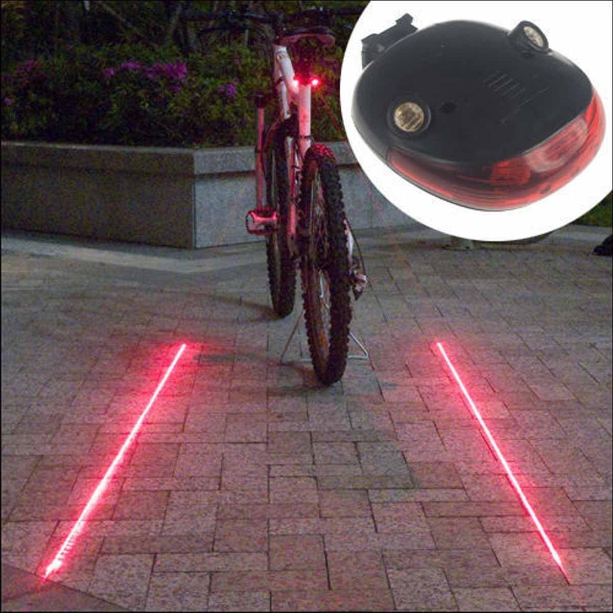 5 LED 2 Laser Bike Bicycle Light Rear Tail Flashing Safety Warning Lamp Night