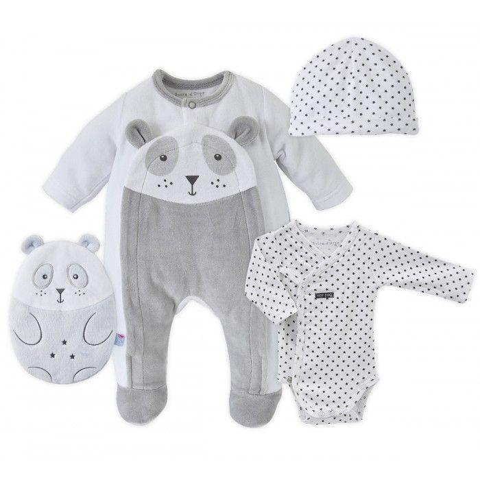 c6ce0440f73a1 SET DE NAISSANCE MIXTE GRIS BLANC - Pyjamas
