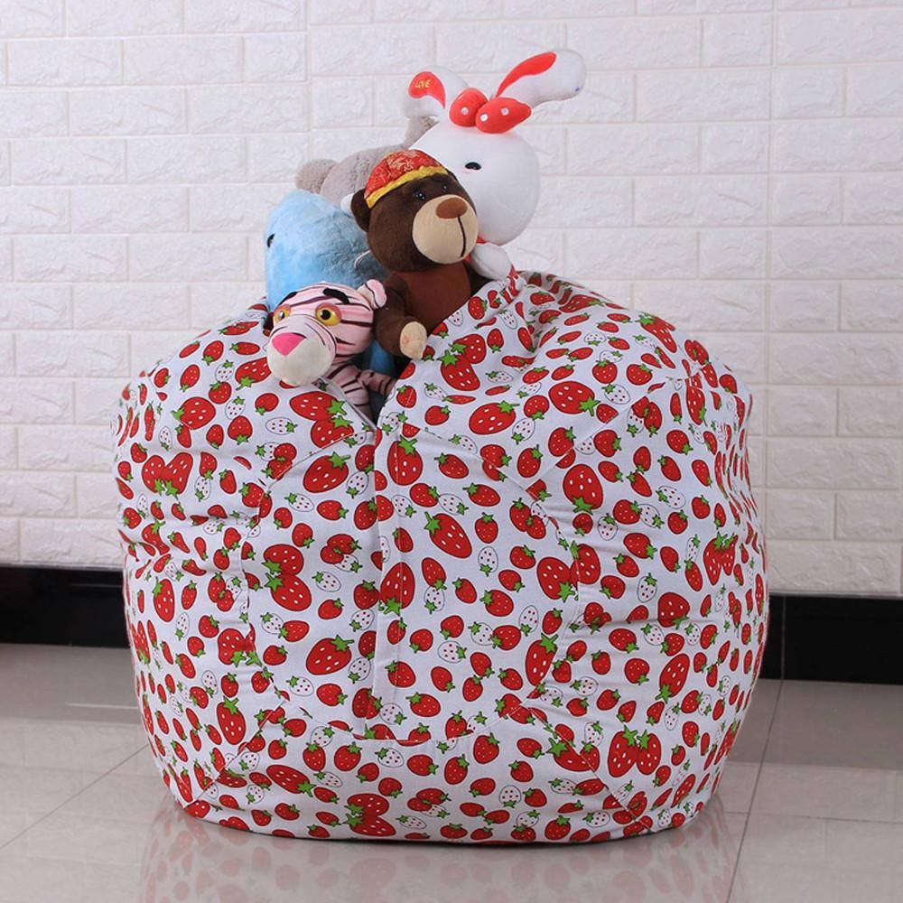 Kids Soft Stuffed Animal Toy Cotton Bean Bag Storage Pouch Striped Fabric Chair