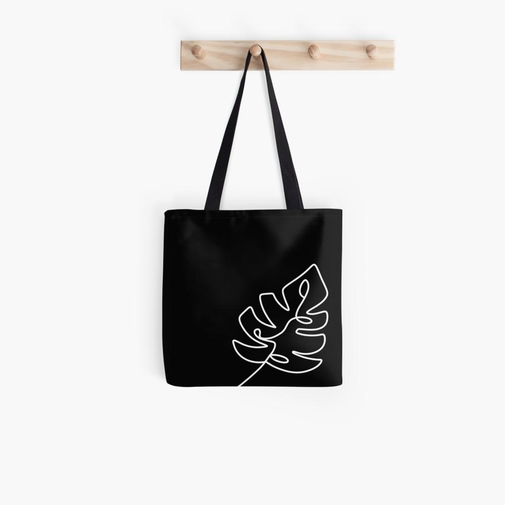 Monstera Leaf Minimal Line Art Black Tote Bag By Hbailey Design In 2021 Tote Bag Canvas Design Black Tote Bag Canvas Bag Design