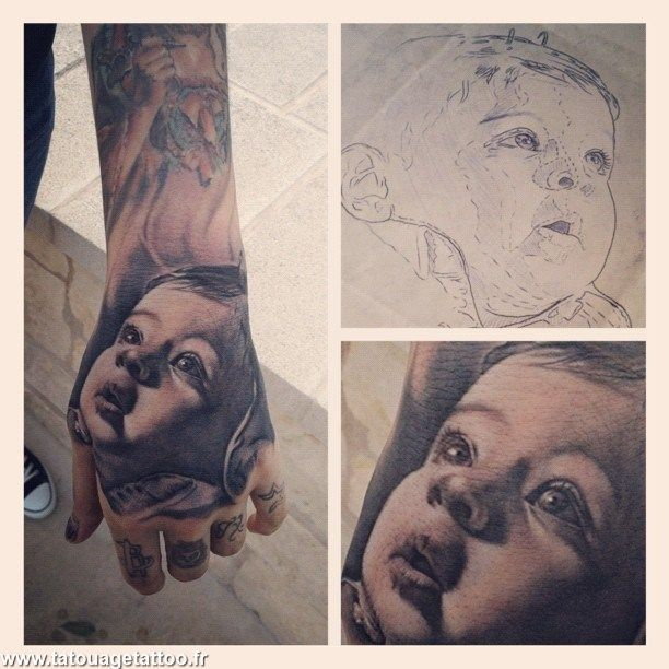 Bebe Portrait En Tatouage A La Main Art Pinterest Tatuagem