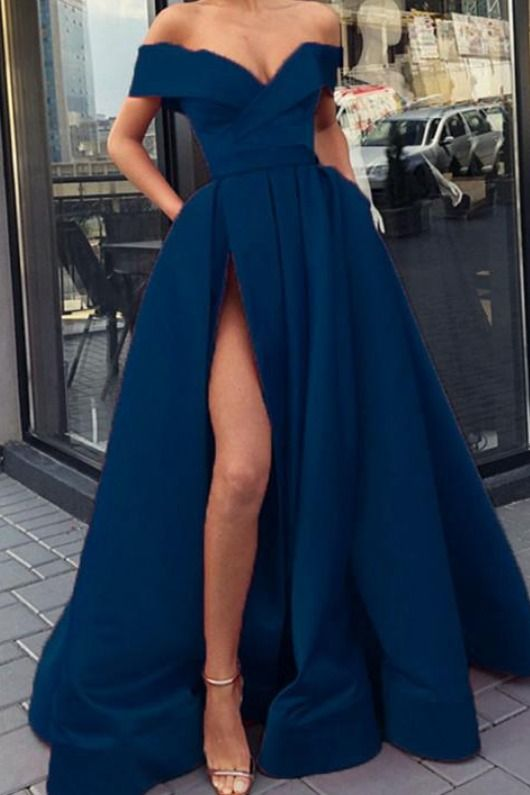 navy blue prom dresses long satin split evening gown off the shoulder #bluepromdresses