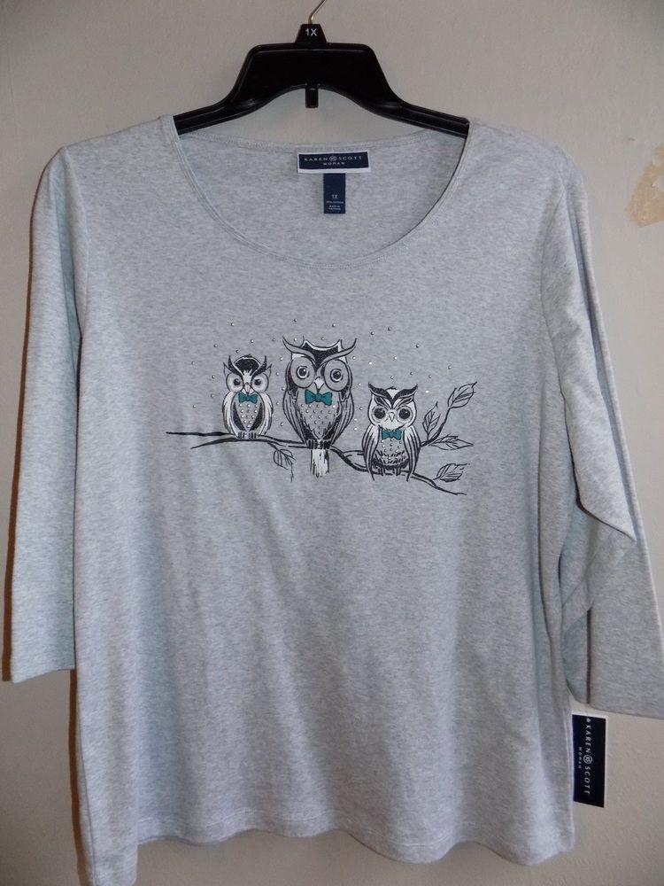 abf0c16a6f531 NEW Karen 1X Scott womens 3 4 sleeve top 3 Owl-print 100% cotton   KarenScott  Pullover