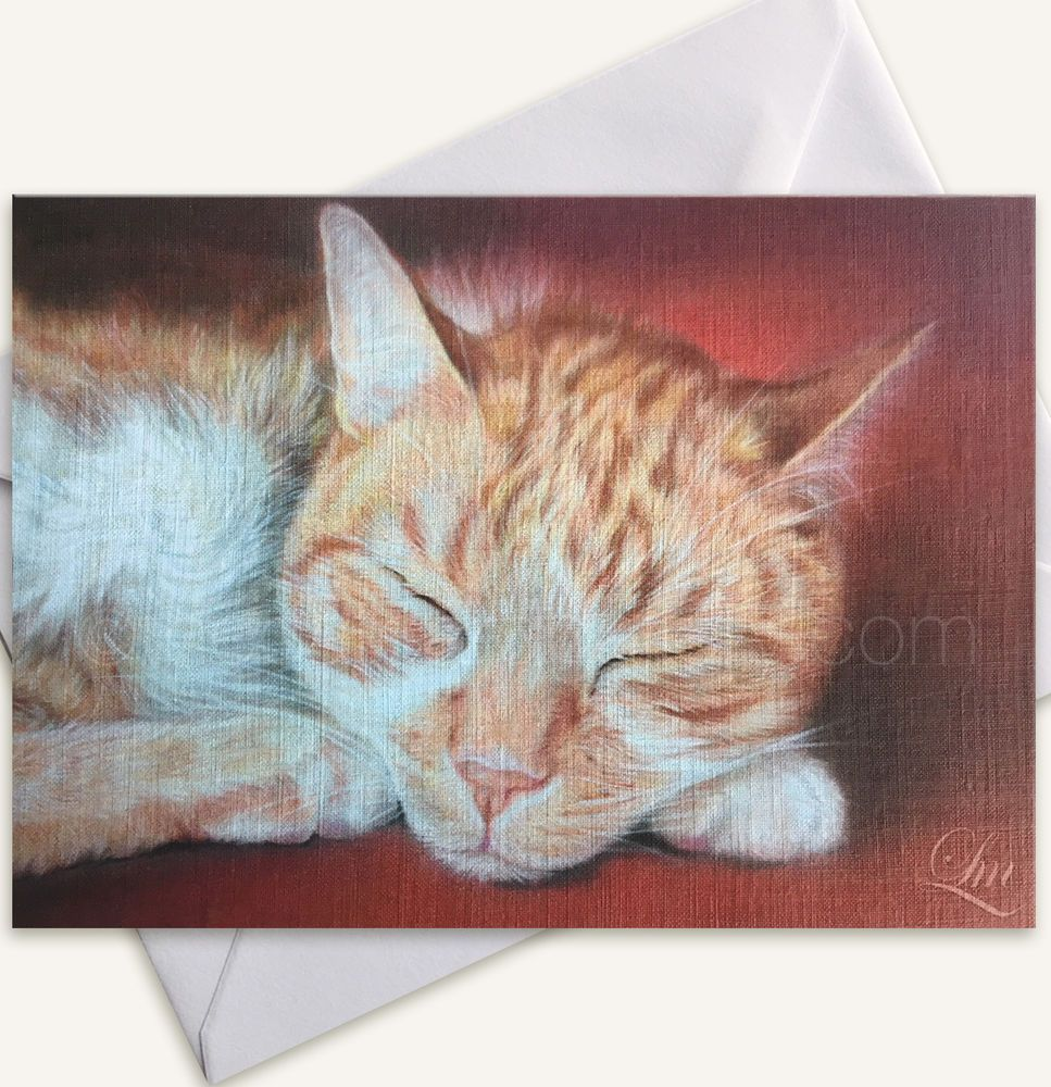 Ginger Cat Card Kitten Birthday Gift Mum Art Print Pastel Painting