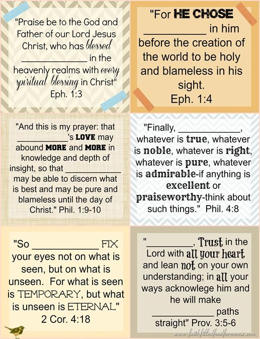 Printable Bible Verse Cards to Personalize Faith Bible