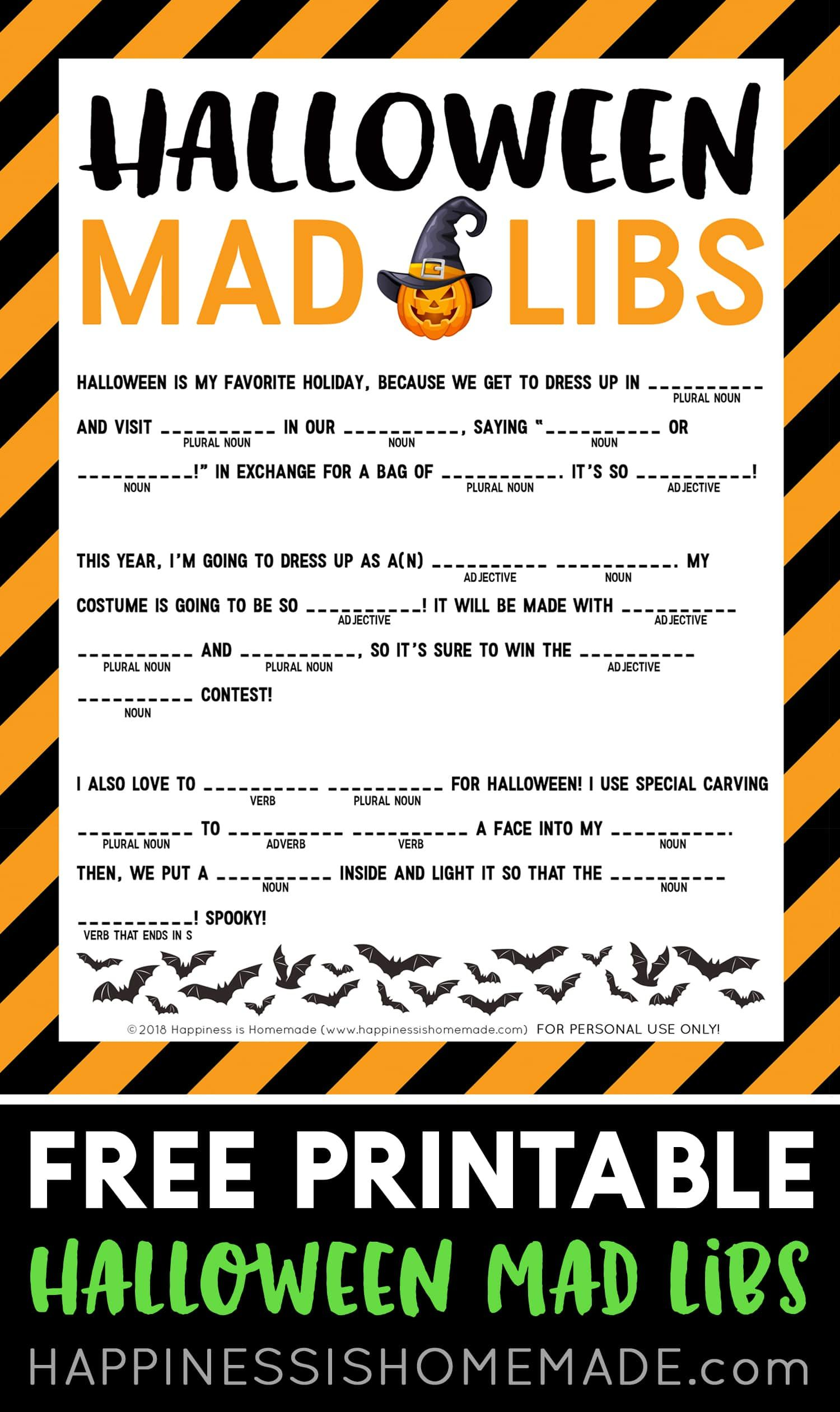 Free Halloween Mad Libs Printable This Fun Free Halloween