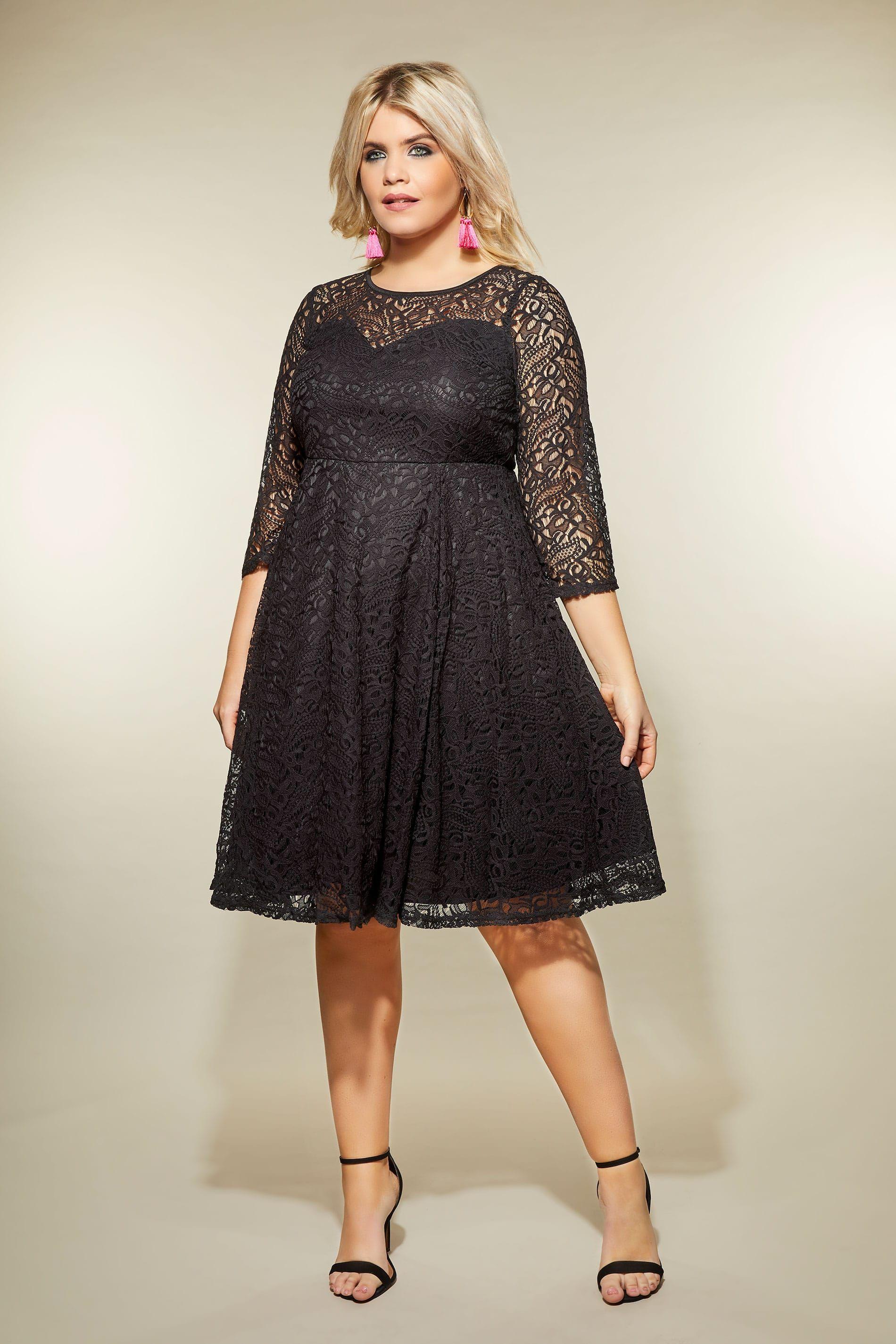 Black Lace Skater Dress Plus Size 16 To 36 Plus Size Lace Dress Plus Size Skater Dress Lace Skater Dress [ 2850 x 1900 Pixel ]